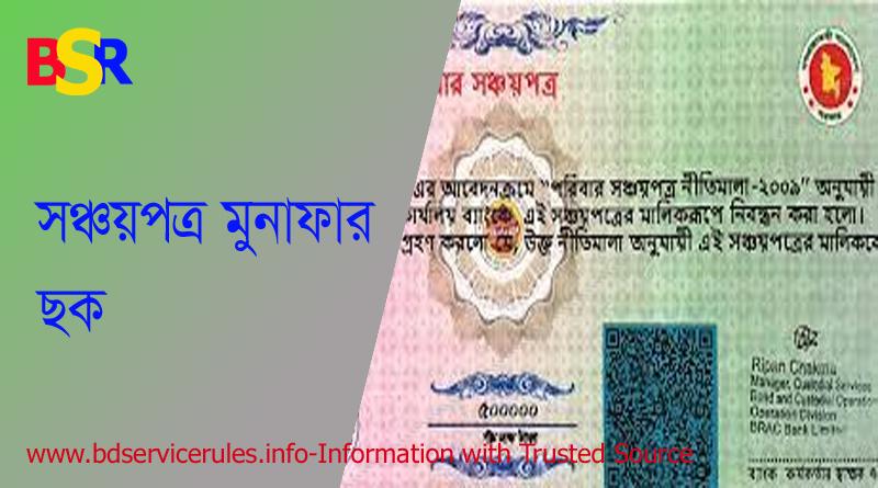 সঞ্চয়পত্র মুনাফা ছক ২০২১